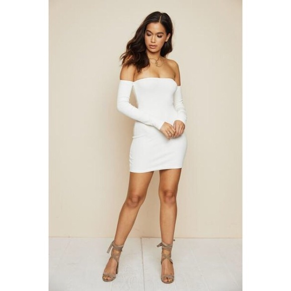 c69267504d4 Dresses   Skirts - White Off Shoulder Long Sleeve Bodycon Dress